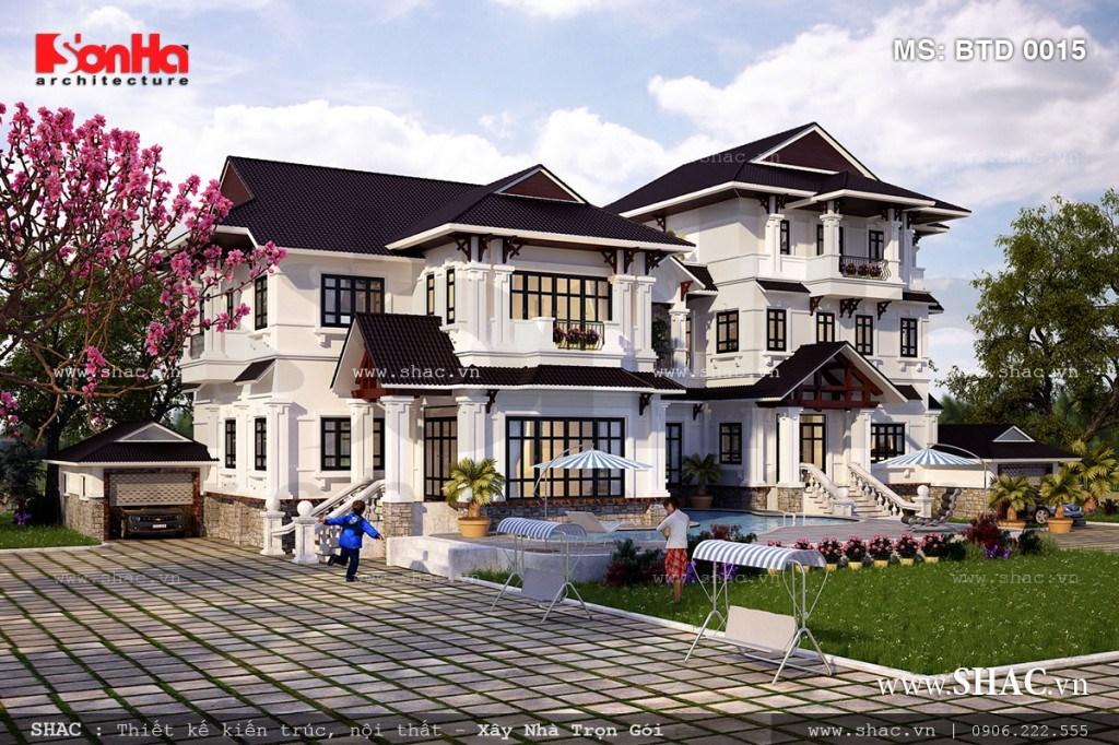Mẫu thiết kế biệt thự phố hiện đại đẹp với mái thái 1
