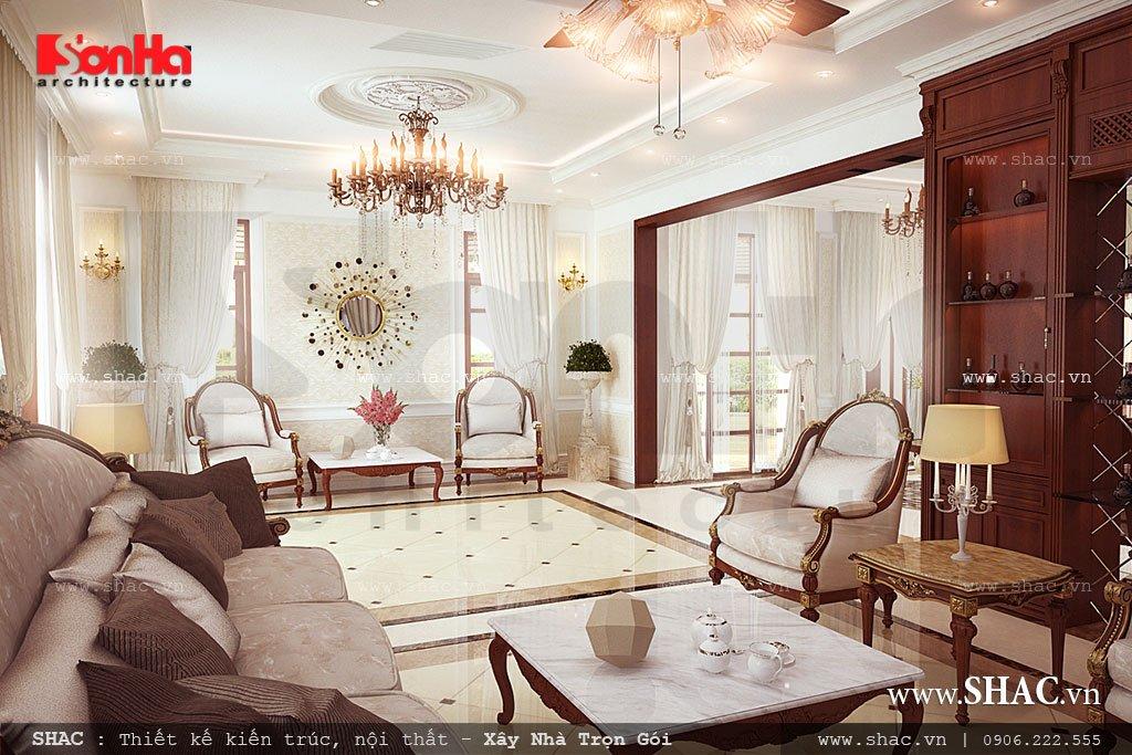 Nội thất phòng khách trong thiết kế biệt thự hiện đại 3 tầng 13