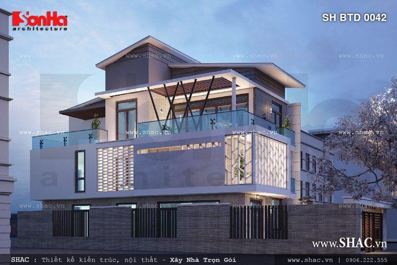 Thiết kế biệt thự hiện đại 3 tầng mặt tiền đẹp 6