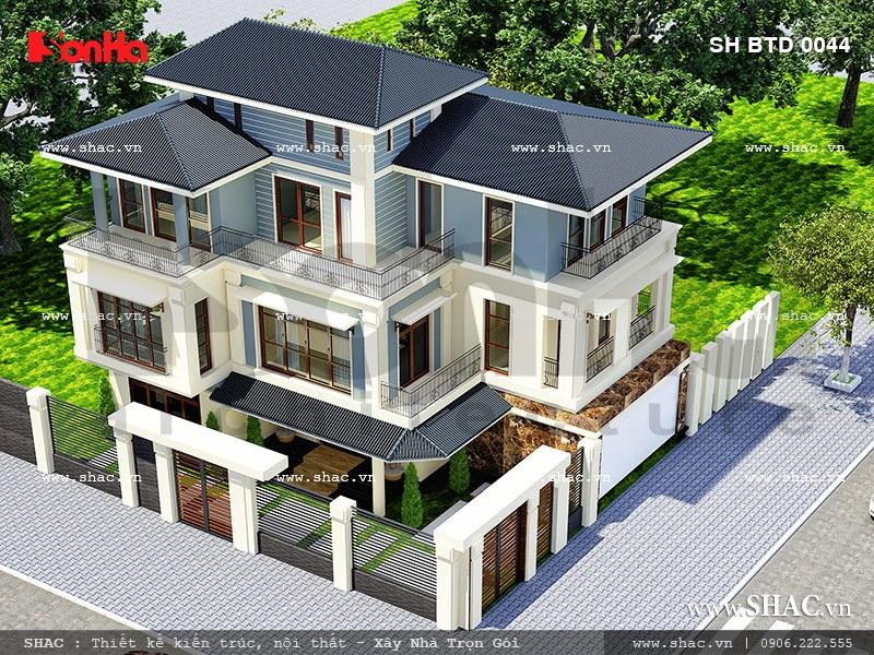 Thiết kế biệt thự hiện đại 3 tầng mặt tiền đẹp 1