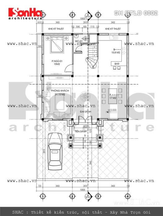 Bản vẽ mặt bằng biệt thự tầng 1 sh btld 0002