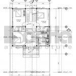 Bản vẽ mặt bằng biệt thự tầng 2 sh btld 0002