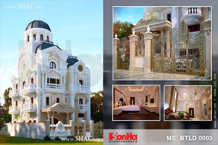 Mẫu biệt thự lâu đài kiến trúc Pháp 4 tầng đẹp