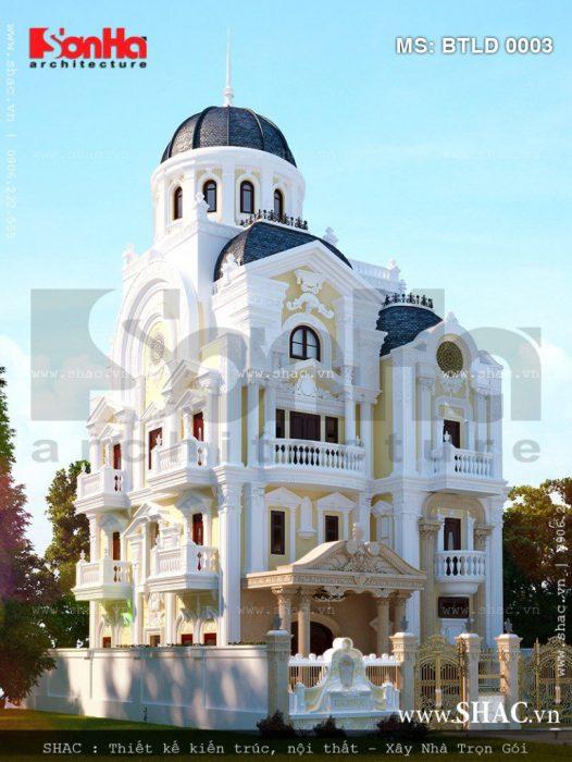 Kiến trúc biệt thư lâu đài Pháp 4 tầng trọn gói điển hình của thiết kế đẹp nhất Tiền Giang 2017