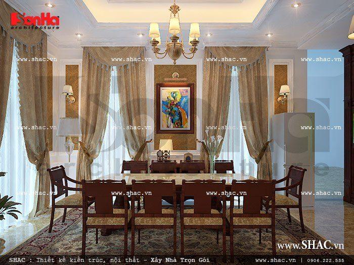 Thiết kế nội thất phòng ăn đẹp với bộ bàn ghế nhỏ ngăn nắp tiện nghi