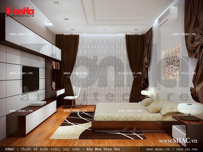 Mẫu phòng ngủ kín đáo được bày trí nội thất theo phong cách hiện đại