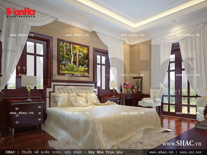Thiết kế mẫu phòng ngủ kiểu Pháp đẹp và thoáng đãng