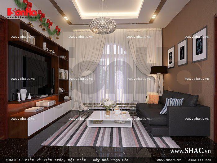 Mẫu thiết kế phòng sinh hoạt chung nội thất cổ điển sang trọng