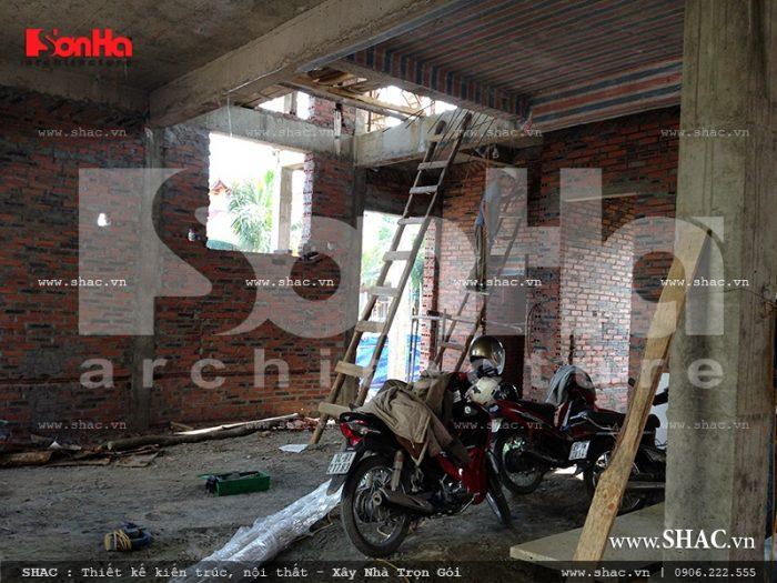 Thi công bên trong không gian sống của mẫu biệt thự kiểu Pháp 3 tầng tại Quảng Ninh