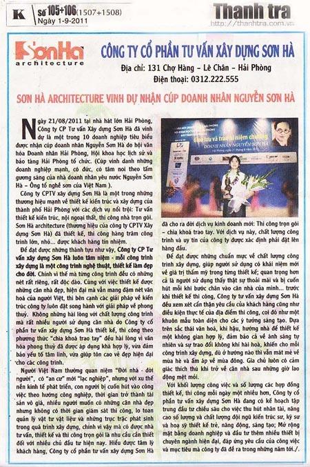 Báo thanh tra nói về Sơn Hà Architecture 1