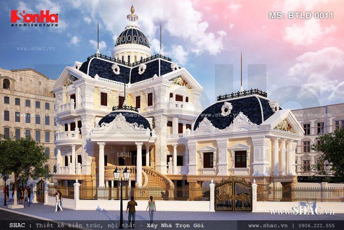Mẫu biệt thự lâu đài 5 tầng kiểu pháp đẹp BTLD 0011
