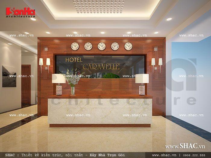 Thêm một phương án thiết kế nội thất quầy lễ tân theo phong cách hiện đại khỏe khoắn và kiểu dáng phù hợp với không gian sẵn có của khách sạn
