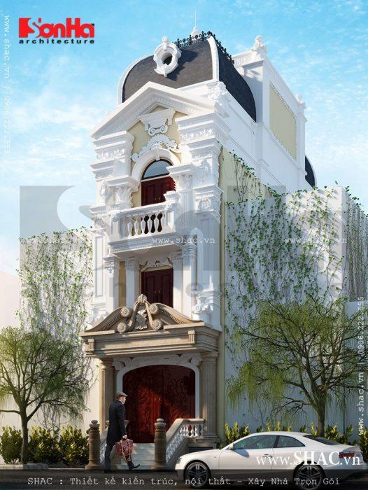 Xây nhà phố mặt tiền kiểu Pháp cổ điển đẹp 1