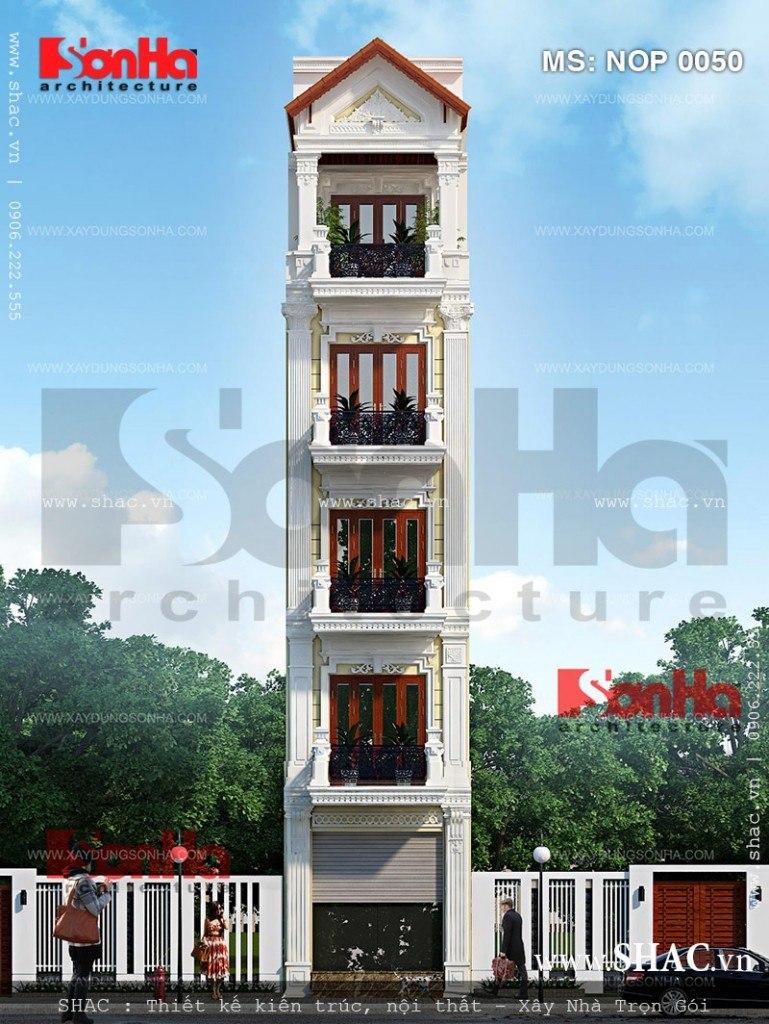 Phối cảnh nhà phoos5 tầng kiểu pháp đẹp bán biệt thự