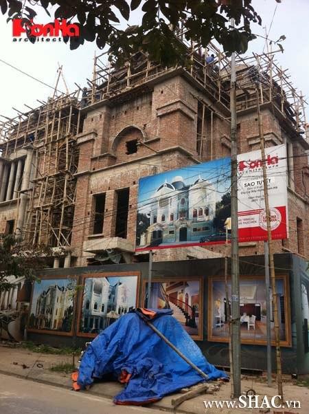 Công trình biệt thự 3 tầng lâu đài cổ điển khi được thi công thực tế tại Nam Định