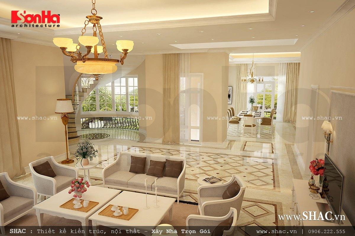 Phòng khách biệt thự rộng và đẹp