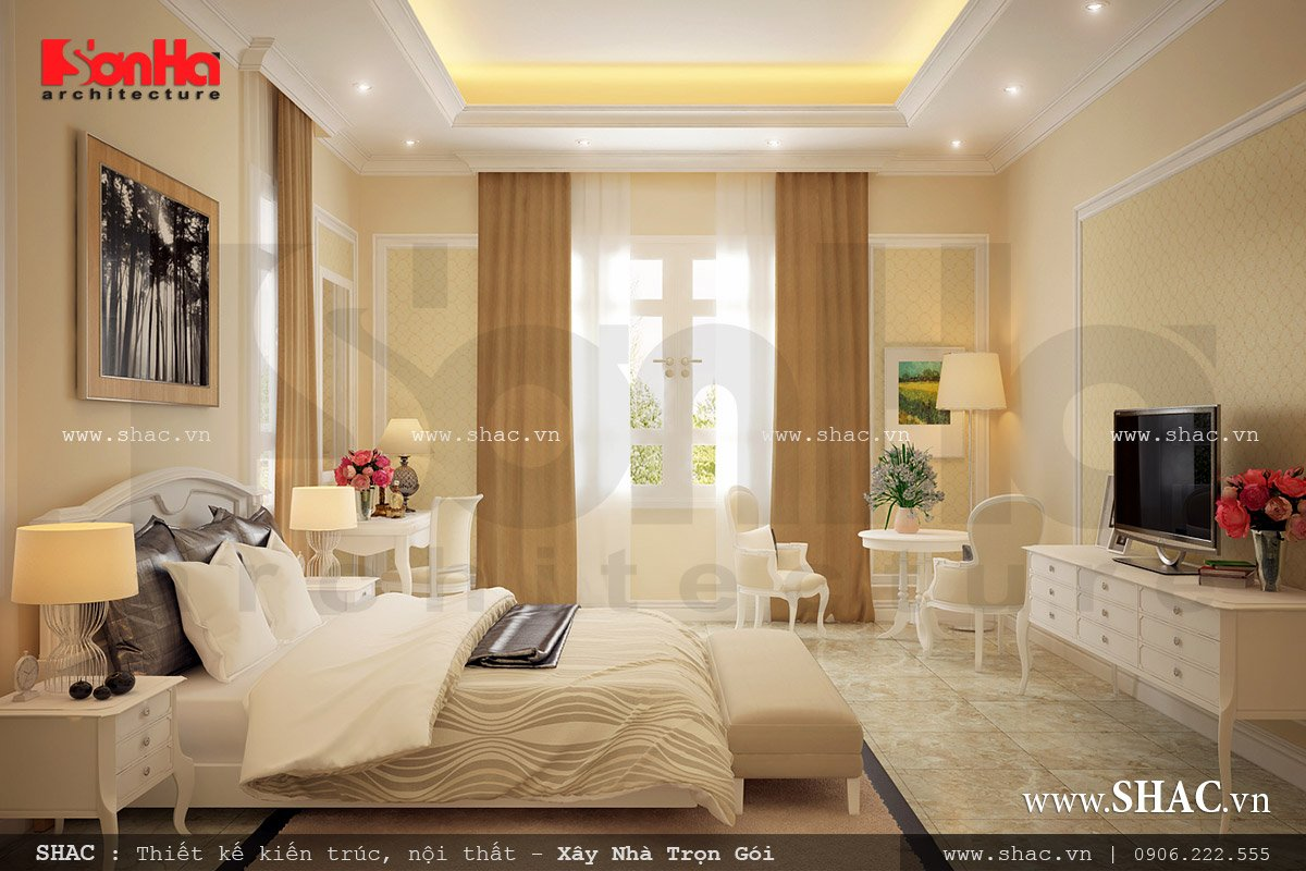 Phòng ngủ đẹp với giường ngủ màu trắng