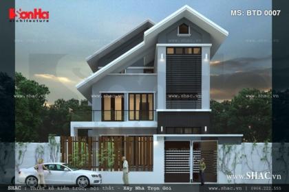 Thiết kế Biệt thự hiện đại 3 tầng rưỡi