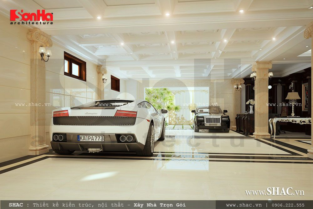 garage biệt thự lâu đài, nội thất gara biệt thự pháp đẹp