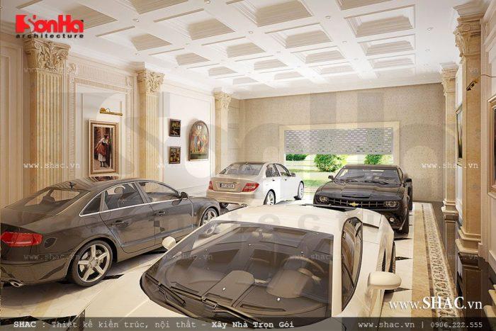 Thiết kế gara ô tô để xe rộng đảm bảo chứa được lượng lớn phương tiện đi lại của gia đình chủ đầu tư'