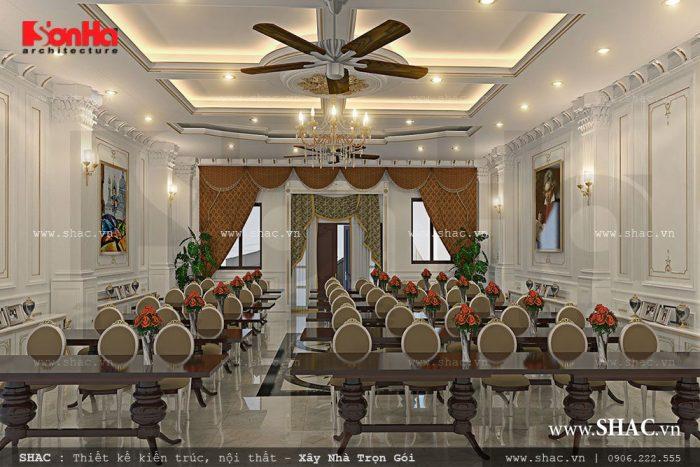 Hội trường phòng họp biệt thự Pháp cổ điển thêm lung linh dưới ánh đèn trùm lớn