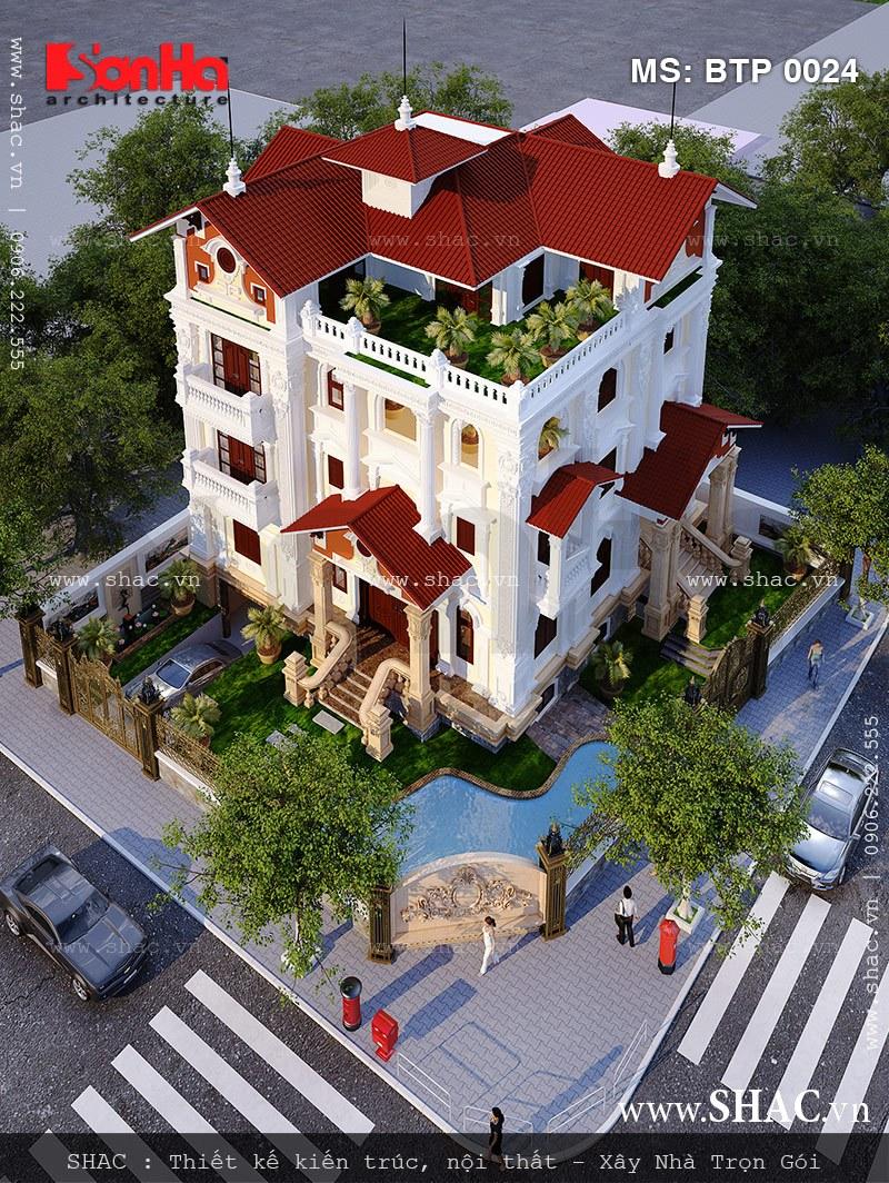 Tổng thể phối cảnh ngôi biệt thự Pháp 5 tầng sang trọng xa hoa có bể bơi tại Hà Nội