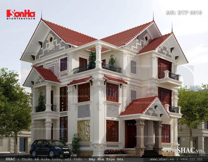 Mẫu thiết kế biệt thự kiểu Pháp 3 tầng sang trọng tại Quảng Ninh trên diện tích đất lớn cùng công năng tiện nghi