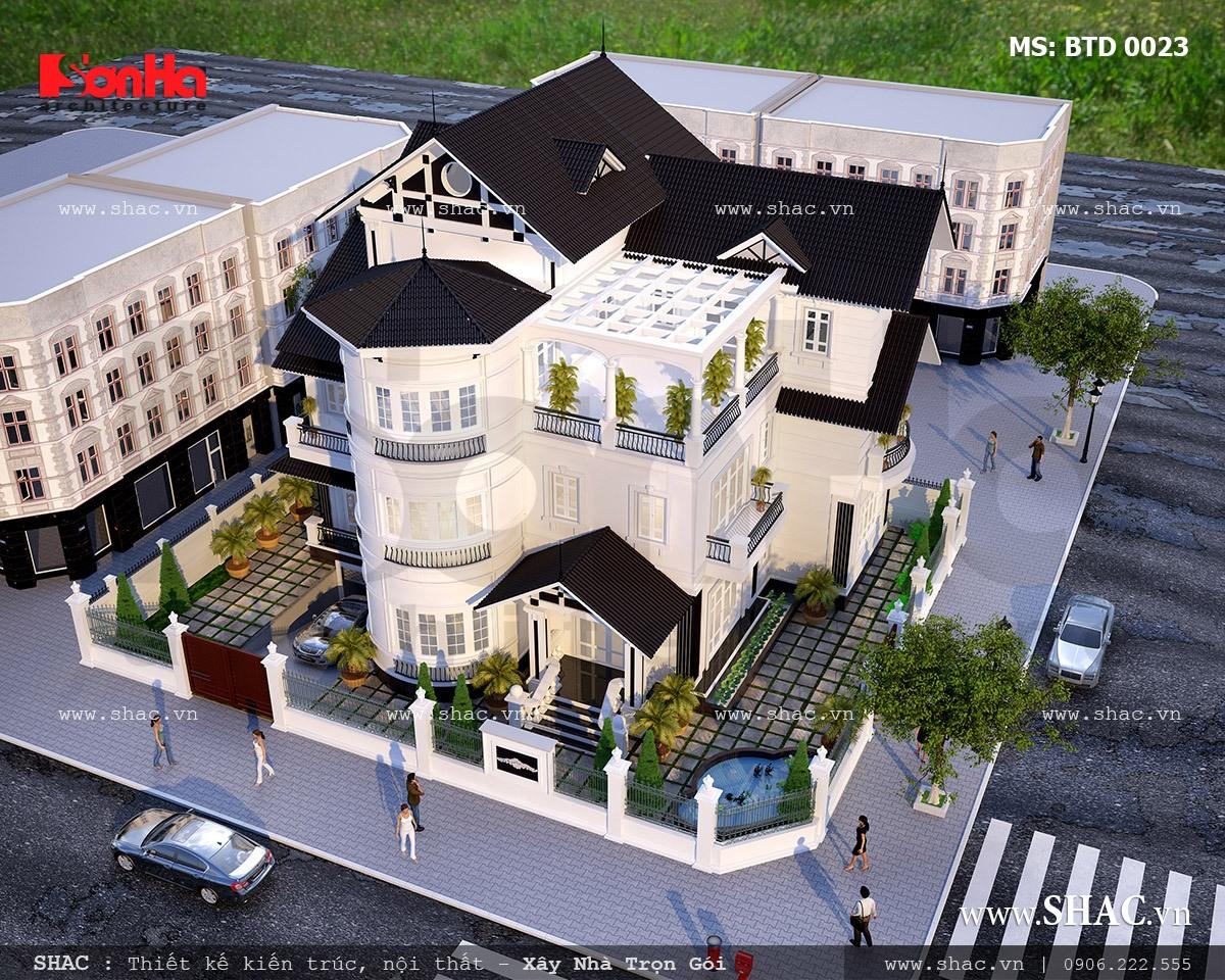 Biệt thự hiện đại 3 tầng hai mặt tiền đẹp