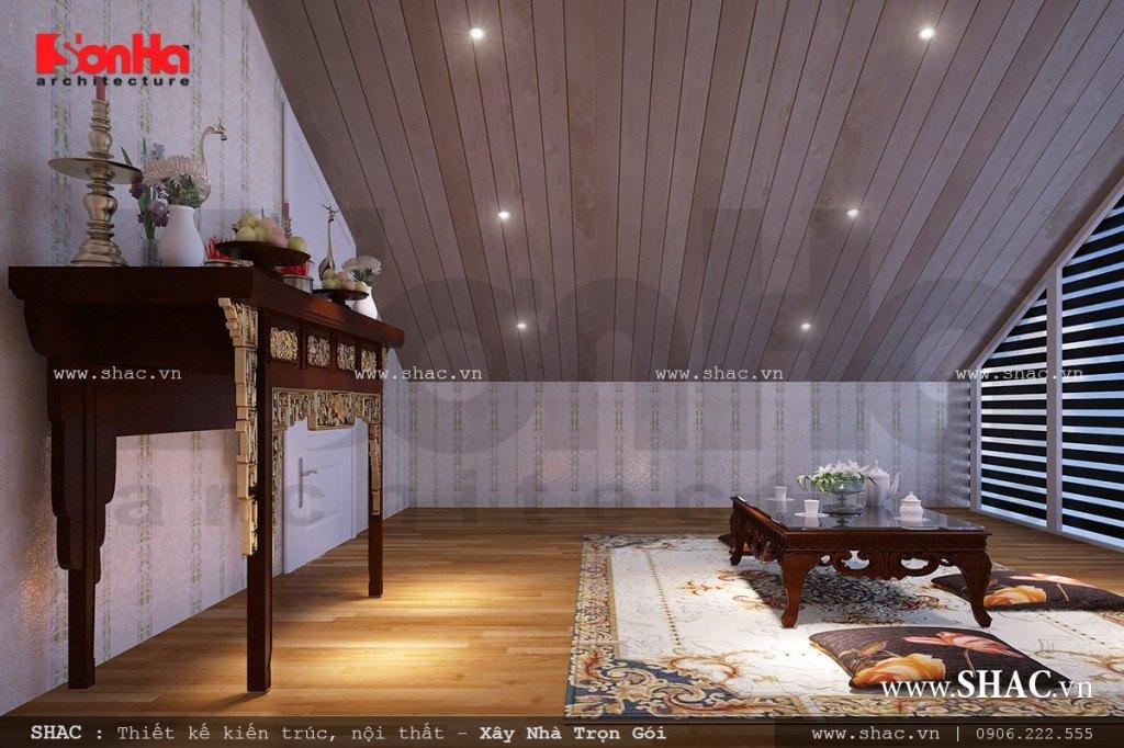 mẫu nội thất phòng thờ, thiết kế phòng thờ đẹp theo truyền thống
