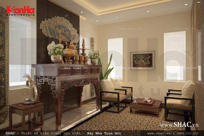 Mẫu thiết kế nội thất phòng thờ theo nét Á Đông kiểu cổ điển trang nghiêm