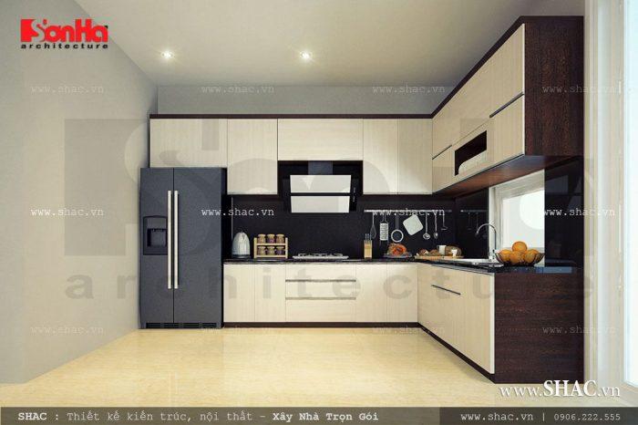 Phòng bếp biệt thự hiện đại 3 tầng tại Quảng Ninh thiết kế nội thất đẹp với tủ bếp chữ L thuận tiện cho việc nấu nướng của gia đình