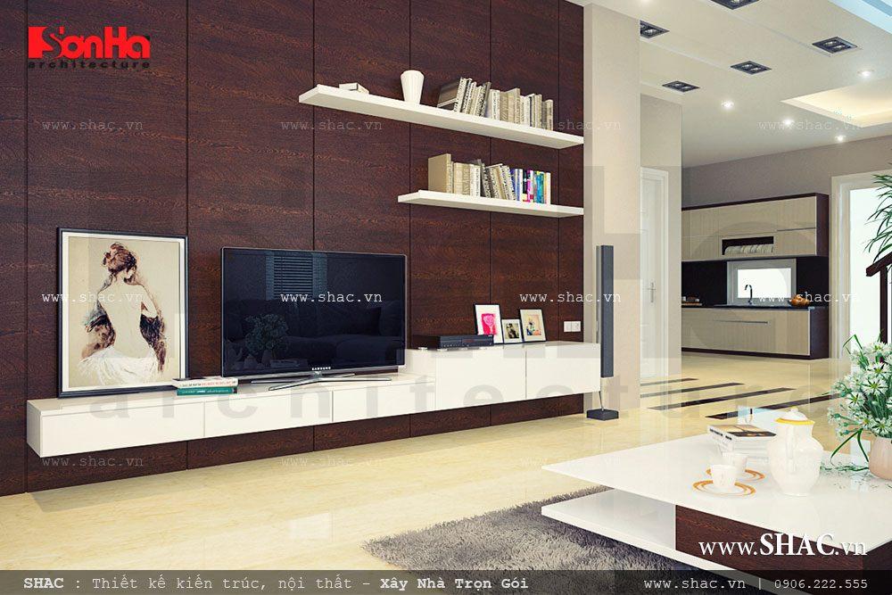 Nội thất phòng khách cho biệt thự hiện đại 3 tầng