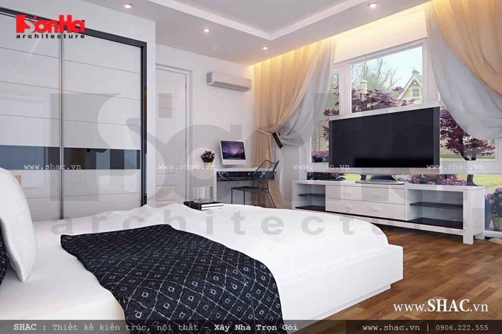 thiết kế nội thất phòng ngủ đẹp, phòng ngủ hiện đại cửa sổ rộng và nhìn ra vườn