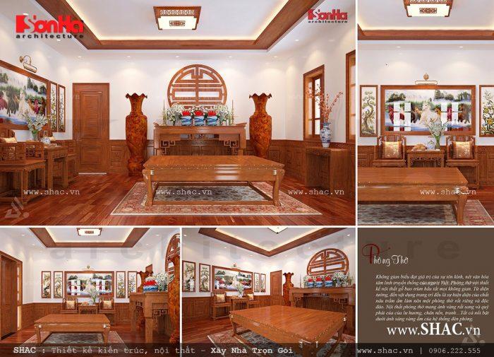 Mẫu thiết kế nội thất phòng thờ cổ điển trang nghiêm