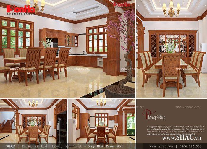 Thiết kế mẫu phòng ăn biệt thự có nội thất gỗ sang trọng và tiện nghi