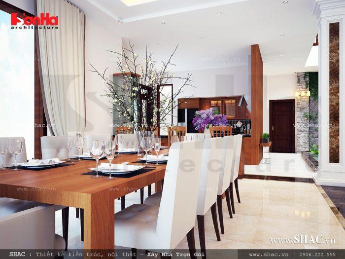 Mẫu thiết kế nội thất phòng ăn trang trọng của biệt thự hiện đai được thiết kế theo xu hướng mới nhất
