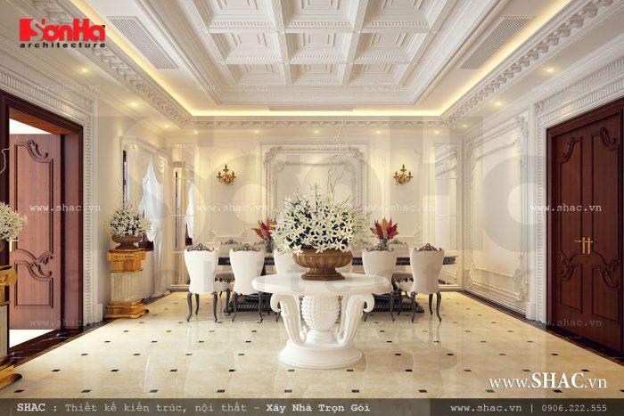 Thiết kế nội thất phòng ăn đẹp và sang trọng của biệt thự Pháp trong không gian rộng lớn
