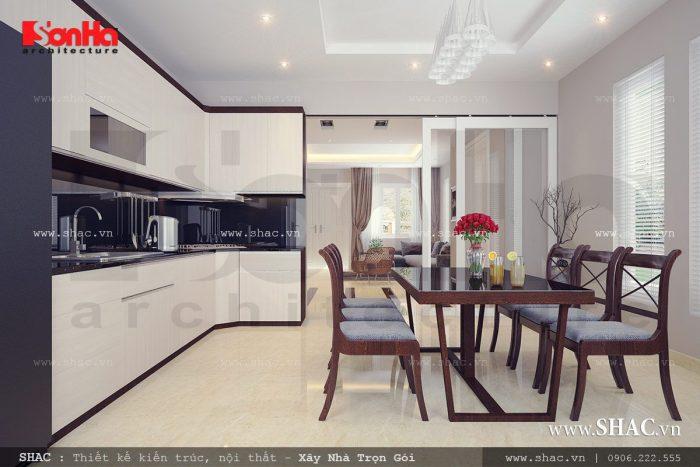 Mẫu thiết kế nội thất phòng bếp phong cách trẻ trung đơn giản của biệt thự hiện đại với tủ bếp chữ L tiện nghi