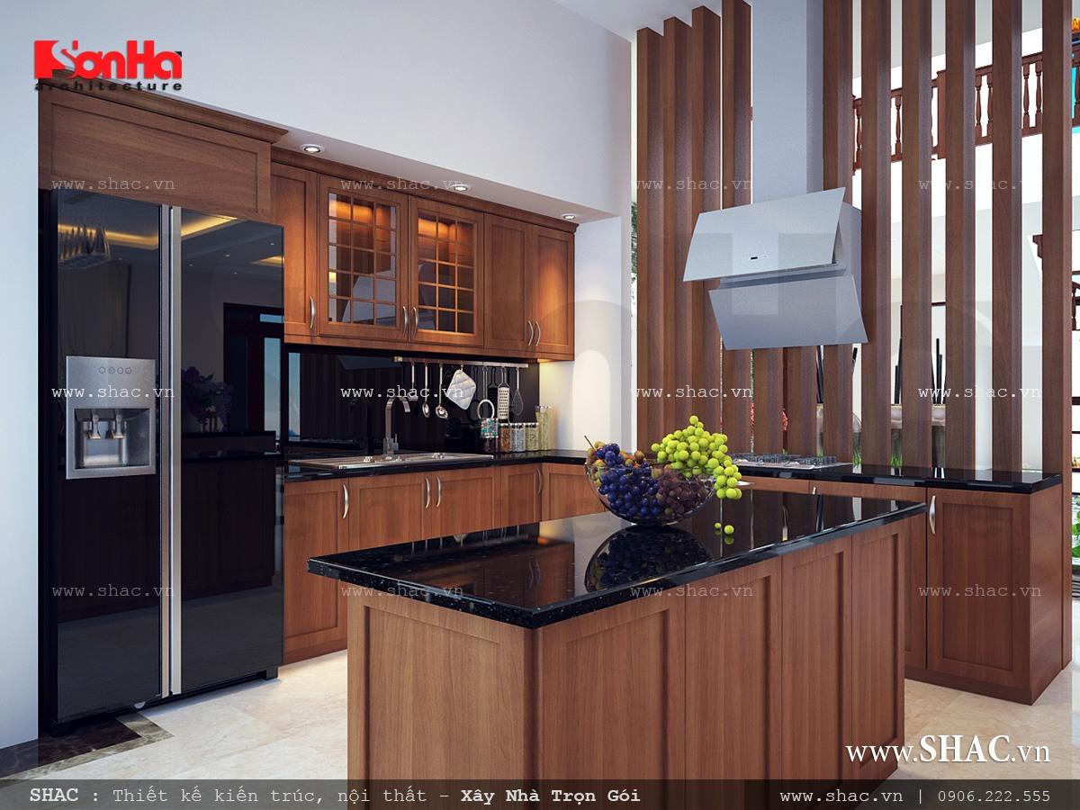 Phòng bếp đẹp với nội thất gỗ