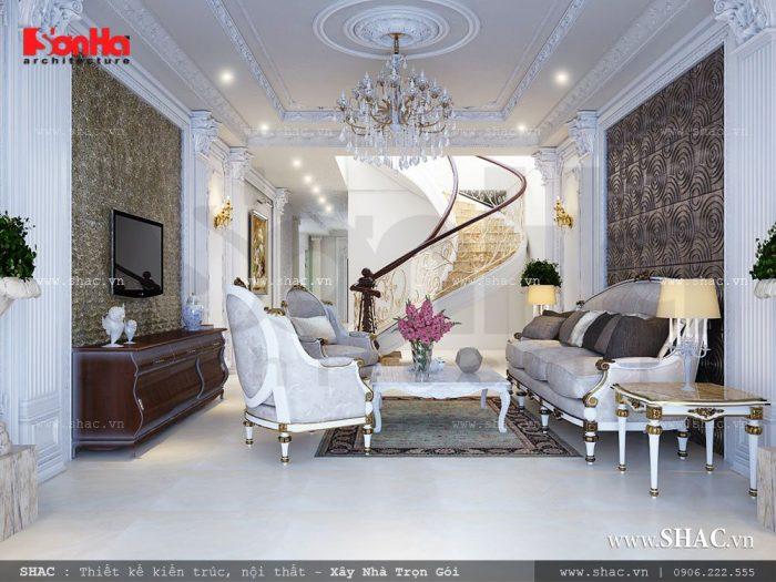 Mẫu thiết kế nội thất phòng khách biệt thự sang trọng và lịch lãm với nội thất Pháp với màu sắc nhã nhặn cho một không gian đẹp mắt