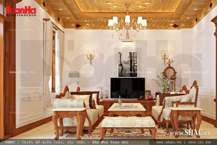 Mẫu thiết kế nội thất phòng khách phong cách Pháp của biệt thự cổ điển 3 tầng trong không gian diện tích phù hợp