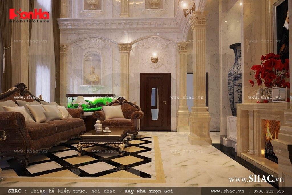 phòng khách đẹp và sang trọng cho biệt thự pháp lâu đài