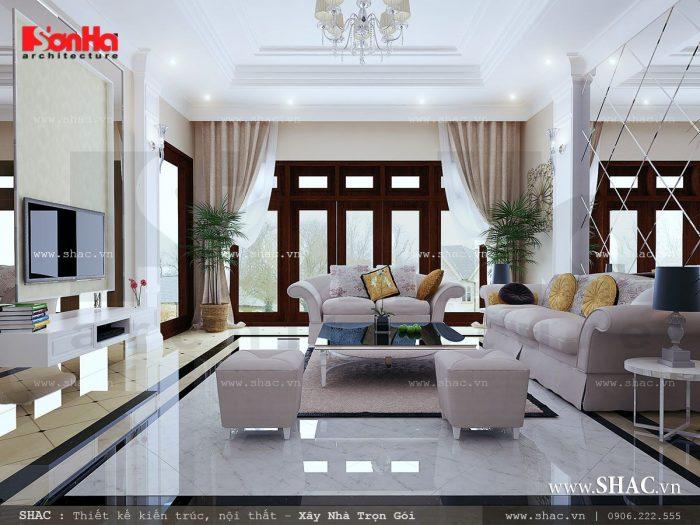 Phòng khách biệt thự hiện đại hào nhoáng với cách bày trí nội thất giản lược