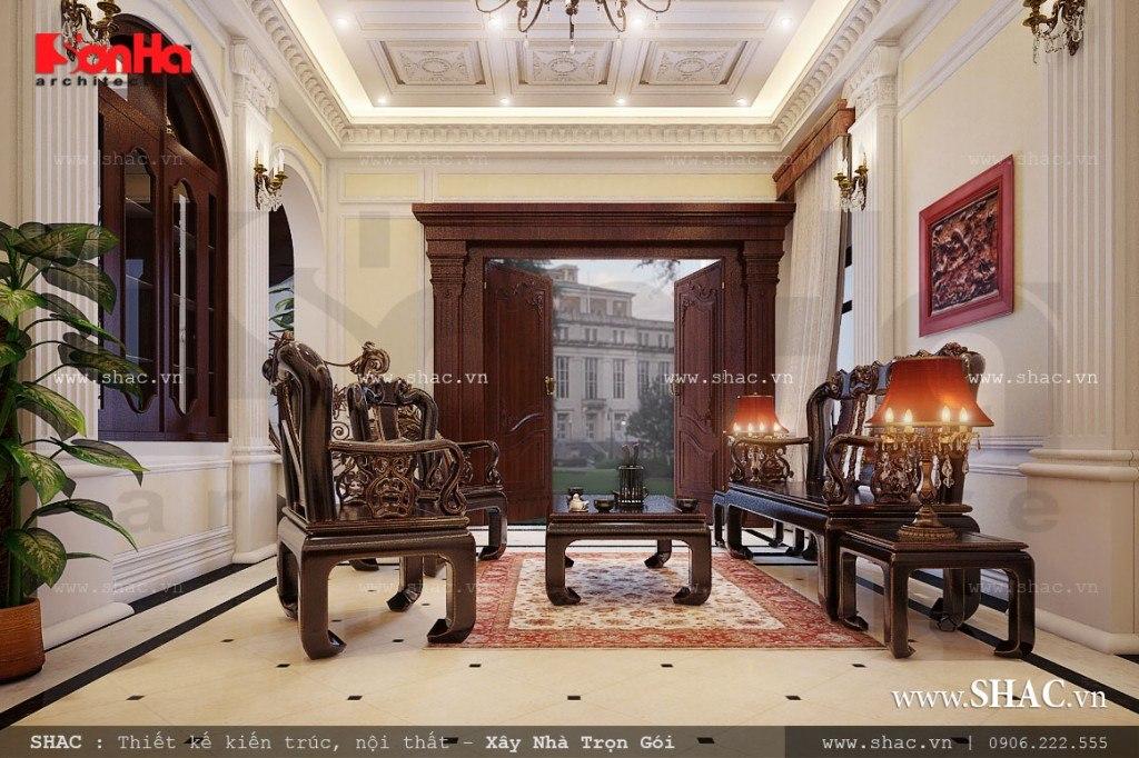 Phòng khách cổ điển của biệt thự Pháp