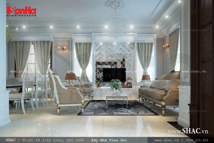 Nội thất phòng khách đẹp và sang trọng trong không gian thoáng và rộng với lối kiến trúc mở