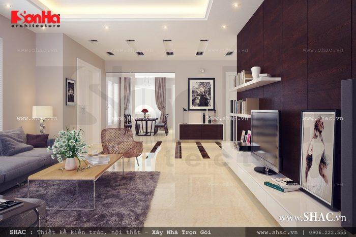Mẫu thiết kế nội thất phòng khách hiện đại mang phong cách trẻ trung trong không gian rộng