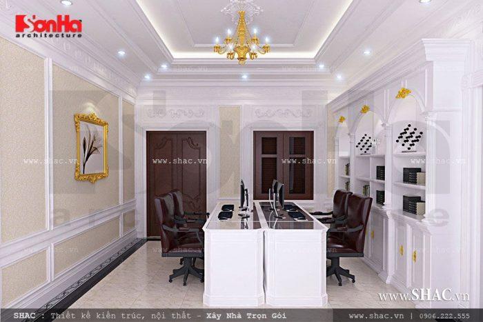 Không gian phòng làm việc đơngiản được thiết kế nội thất tiện nghi