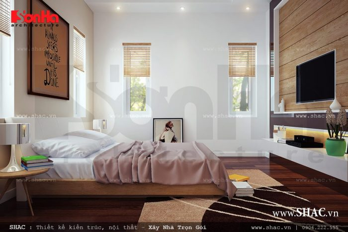 Mẫu phòng ngủ biệt thự có thiết kế nội thất trẻ trung trong không gian thoáng đãng