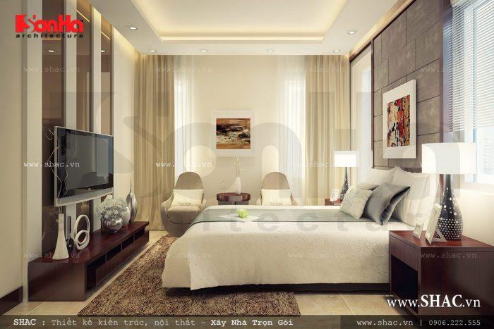 Không gian phòng ngủ biệt thự hiện đại được thiết kế nội thất hiện đại và ấm cúng