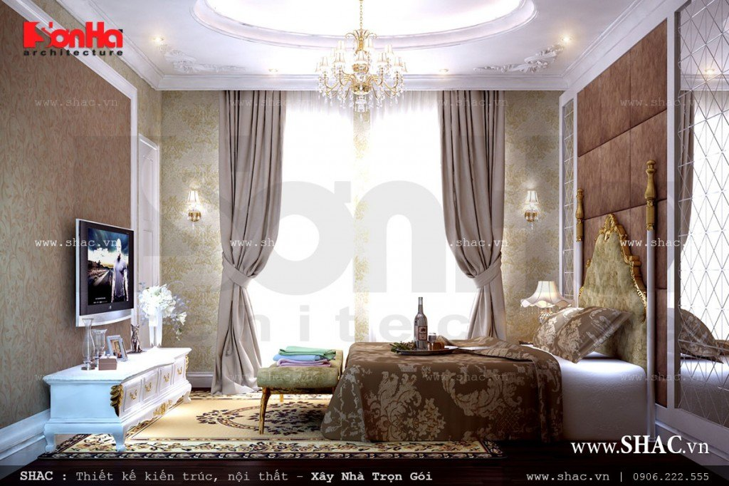 Nội thất phòng ngủ cổ điển nhã nhặn
